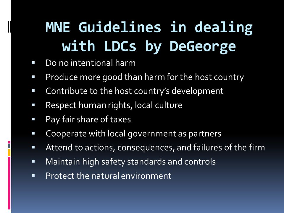 MNE Guidelines in dealing with LDCs by DeGeorge