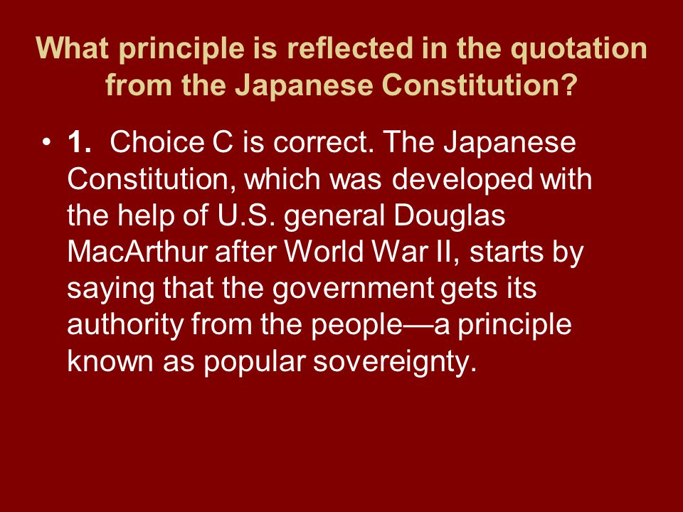What principle is reflected in the quotation from the Japanese Constitution