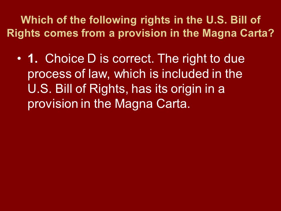 Which of the following rights in the U. S