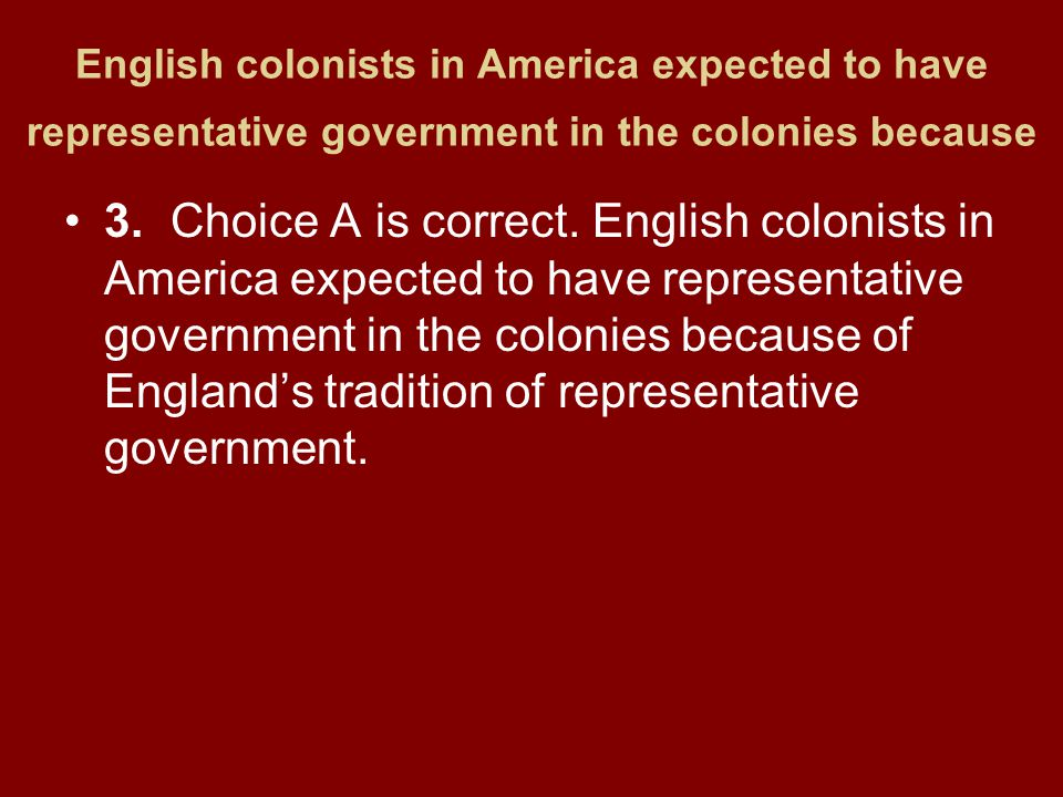 English colonists in America expected to have representative government in the colonies because