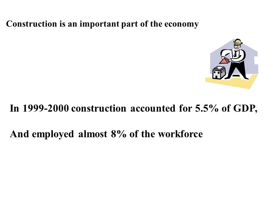 In 1999-2000 construction accounted for 5.5% of GDP,