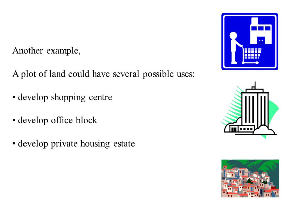 Another example, A plot of land could have several possible uses: develop shopping centre. develop office block.