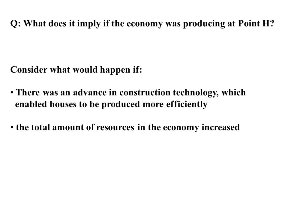 Q: What does it imply if the economy was producing at Point H