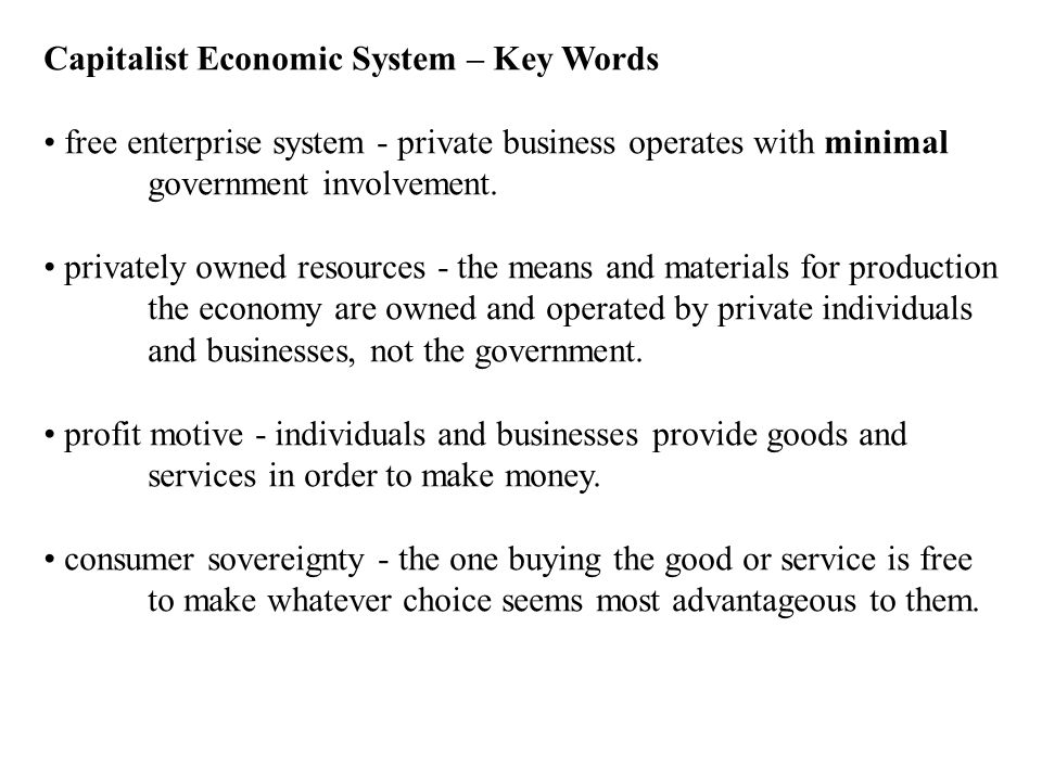 Capitalist Economic System – Key Words