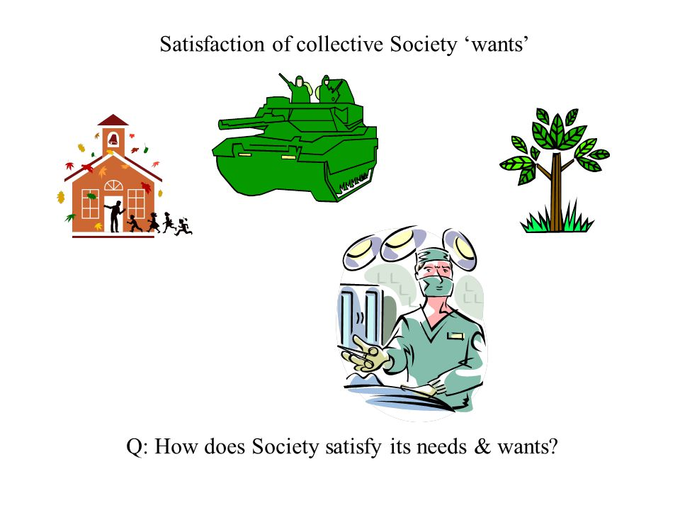 Satisfaction of collective Society 'wants'