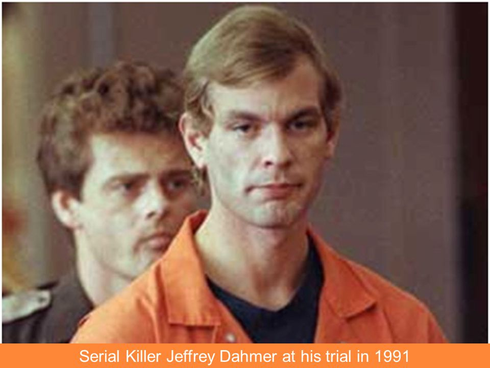 Serial Killer Jeffrey Dahmer at his trial in 1991