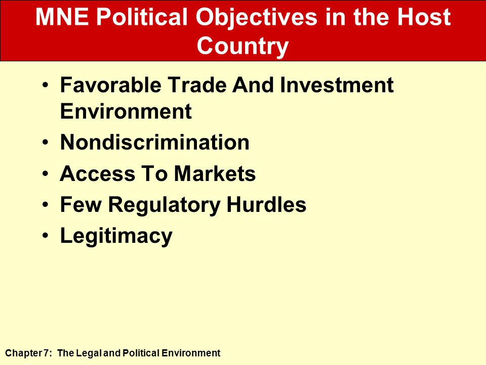 MNE Political Objectives in the Host Country