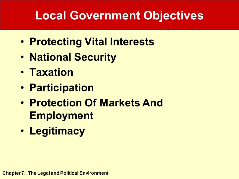 Local Government Objectives