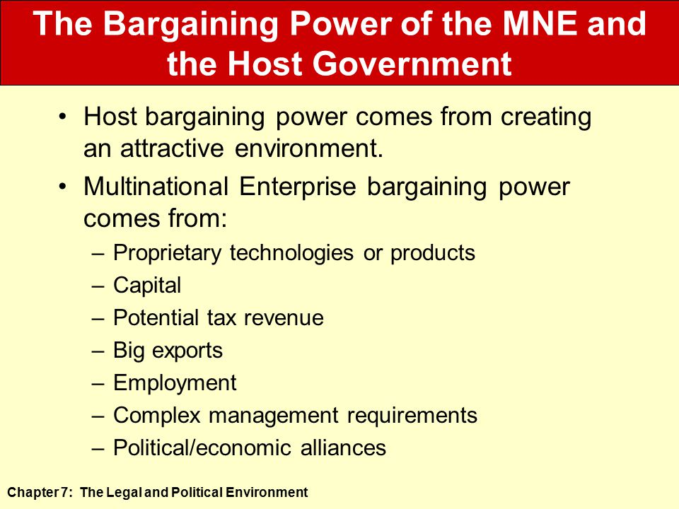 The Bargaining Power of the MNE and the Host Government