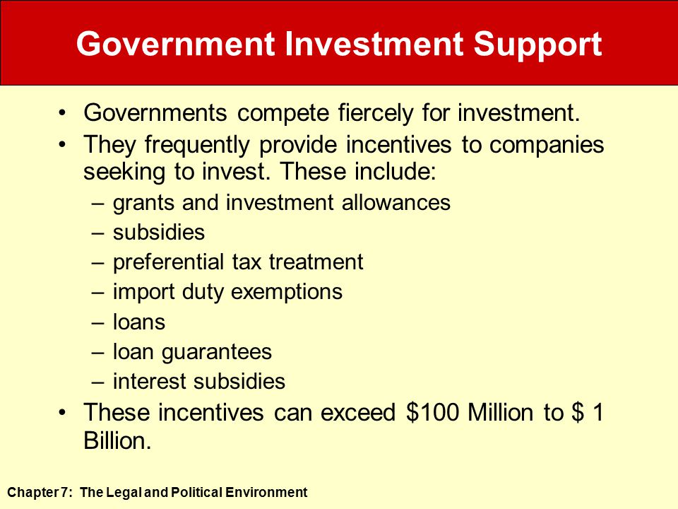 Government Investment Support