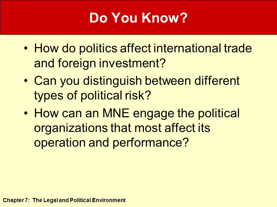 Do You Know How do politics affect international trade and foreign investment Can you distinguish between different types of political risk