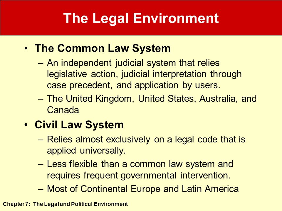The Legal Environment The Common Law System Civil Law System