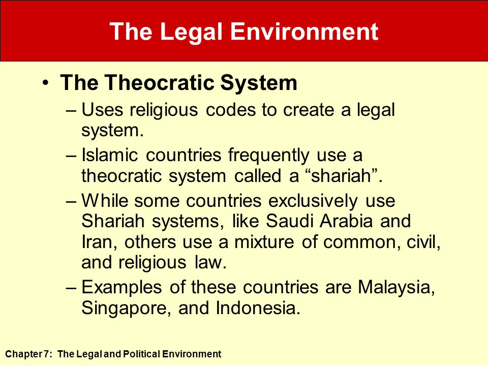 The Legal Environment The Theocratic System