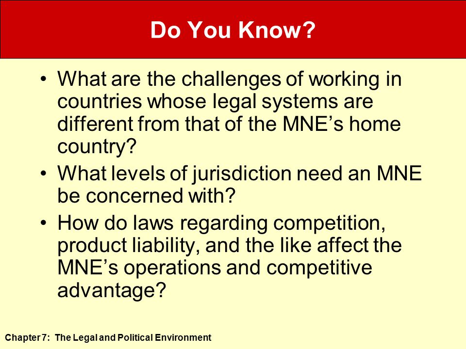 Do You Know What are the challenges of working in countries whose legal systems are different from that of the MNE's home country