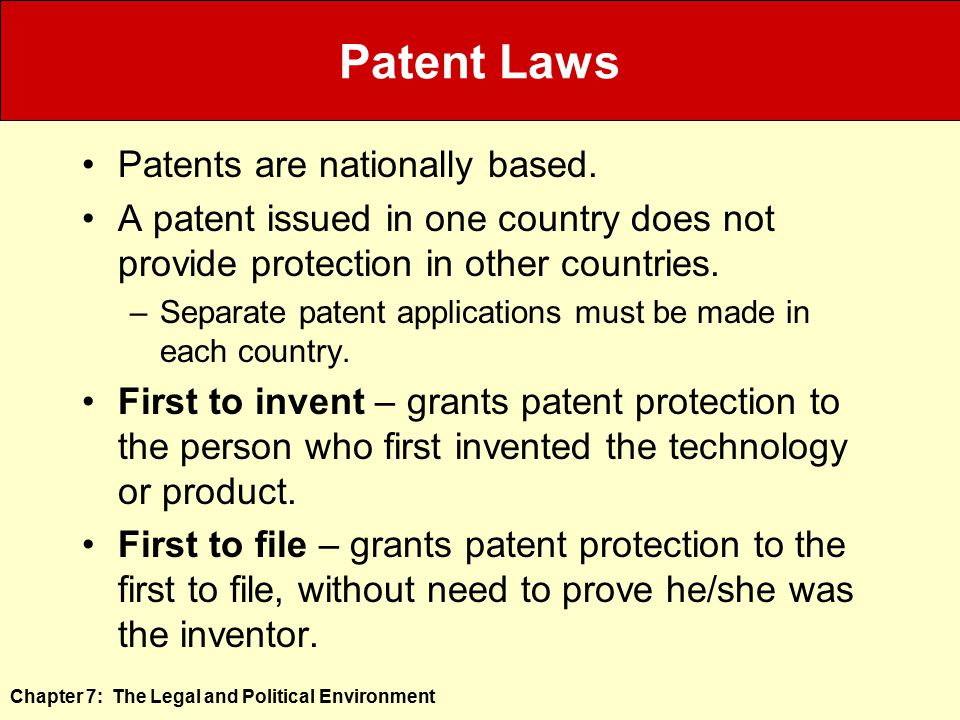 Patent Laws Patents are nationally based.