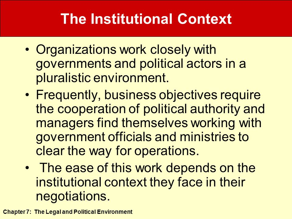 The Institutional Context