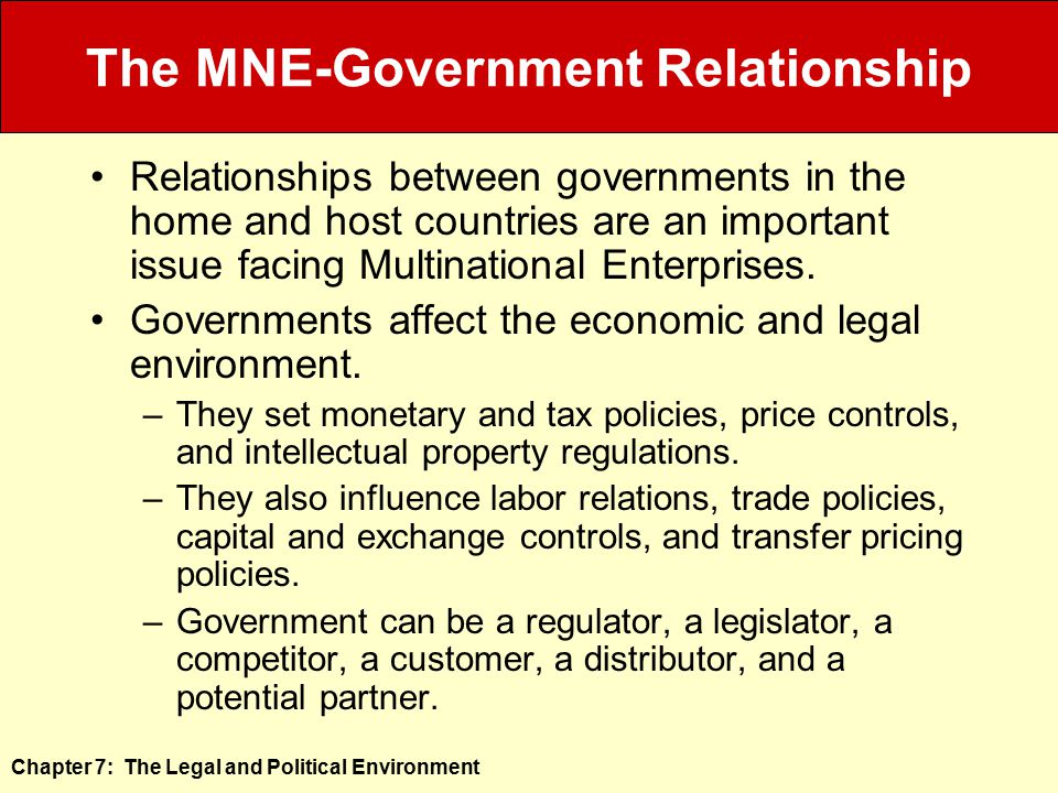 The MNE-Government Relationship