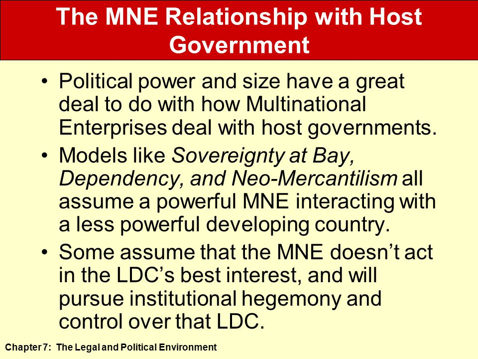 The MNE Relationship with Host Government