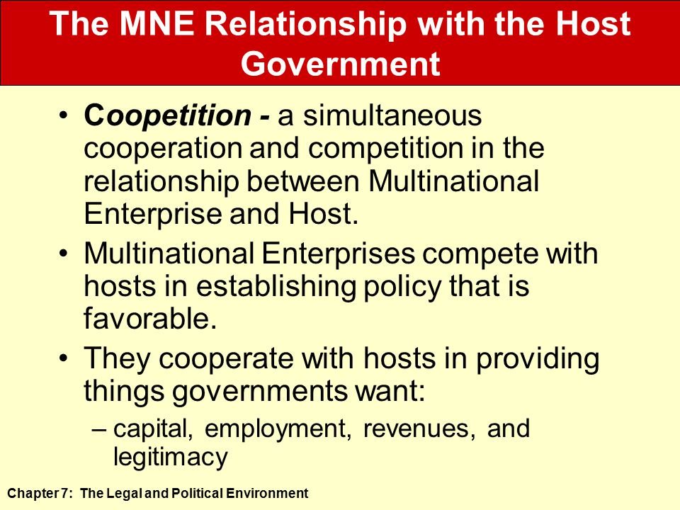 The MNE Relationship with the Host Government