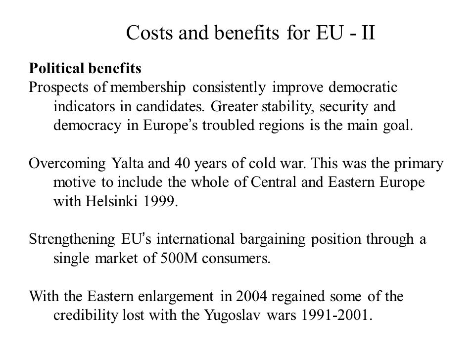 Costs and benefits for EU - II
