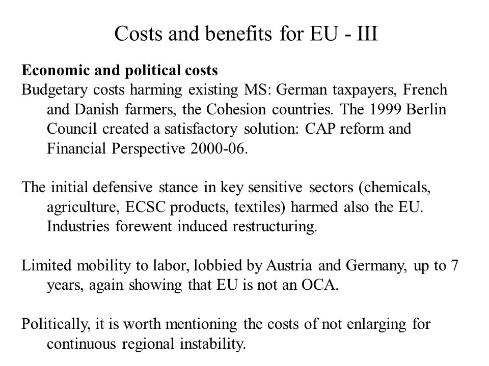 Costs and benefits for EU - III