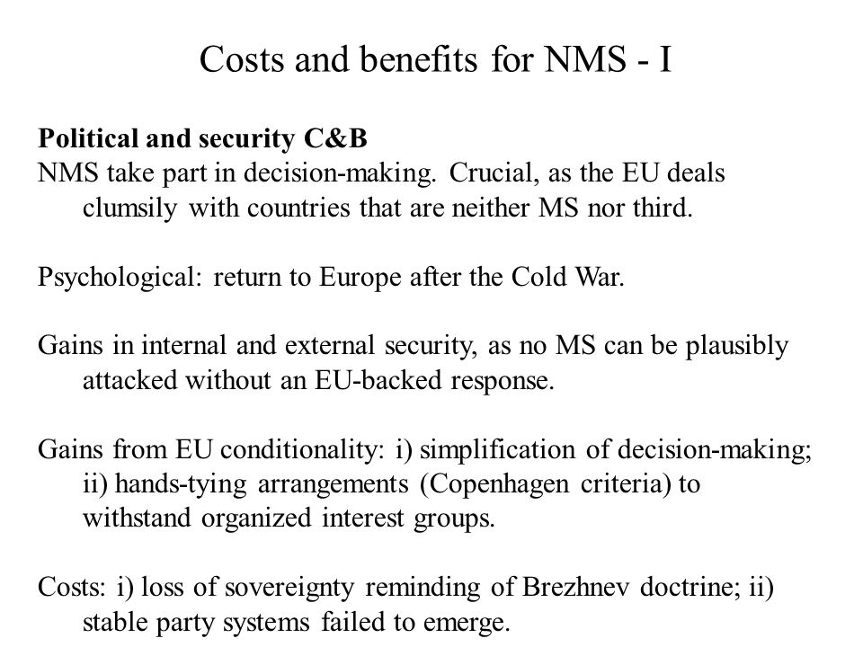 Costs and benefits for NMS - I