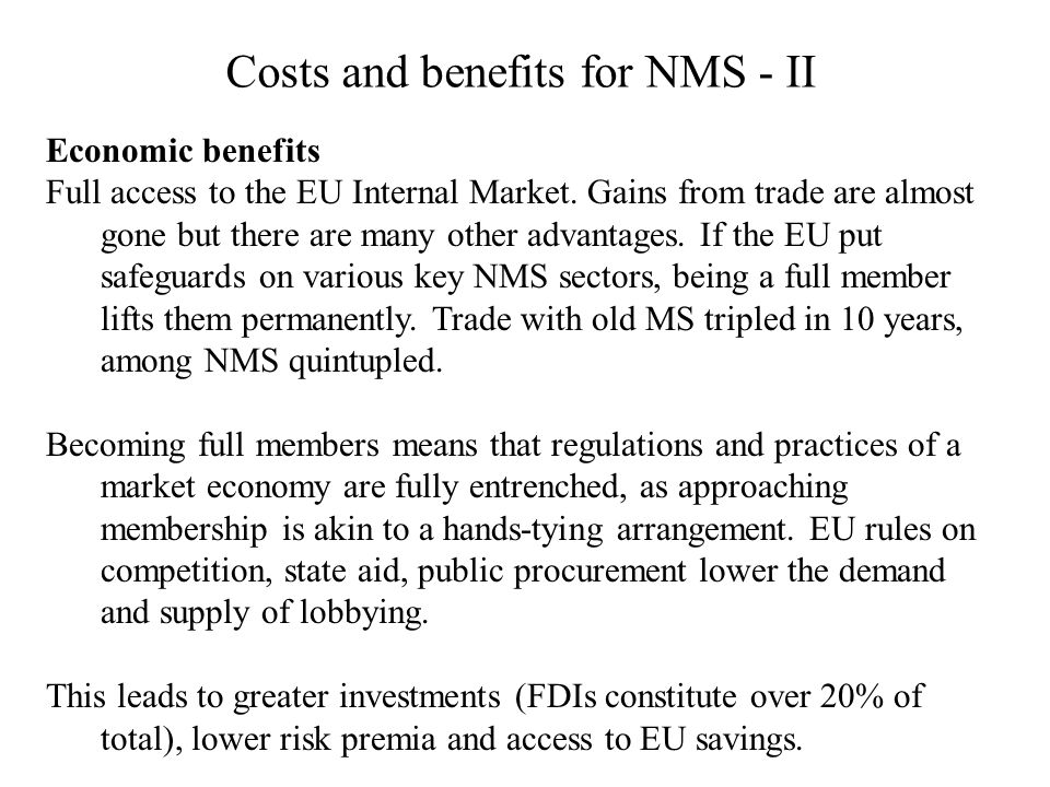 Costs and benefits for NMS - II