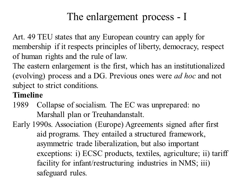 The enlargement process - I
