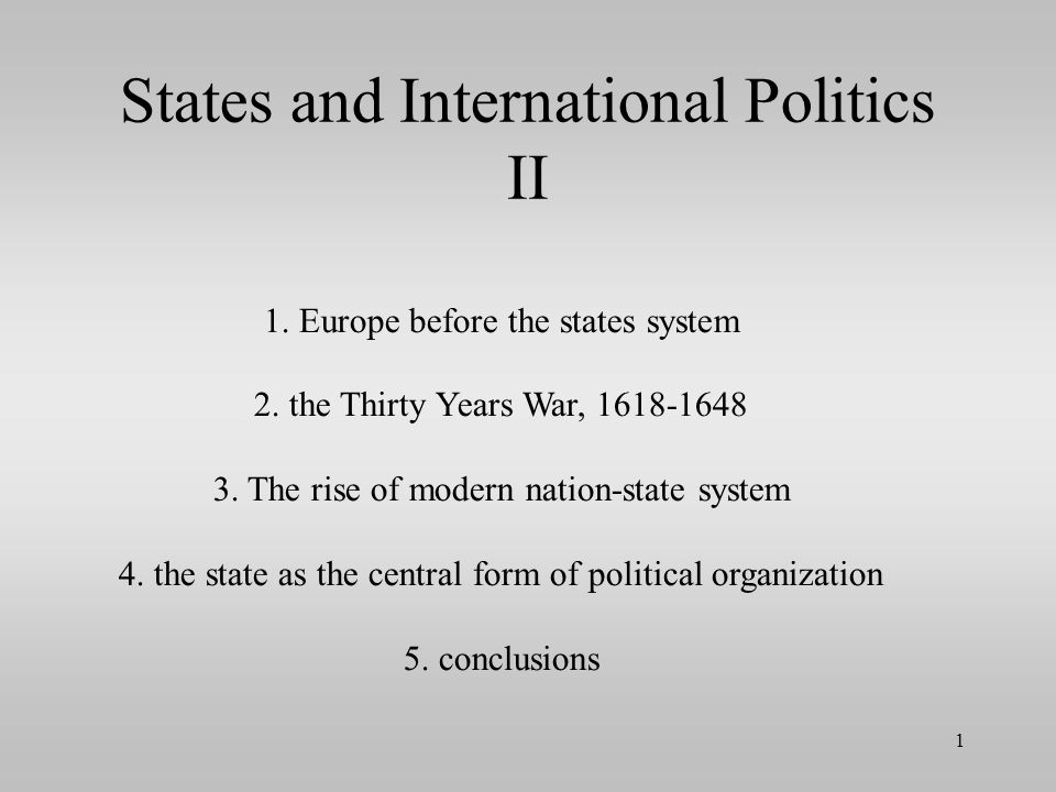 States and International Politics II