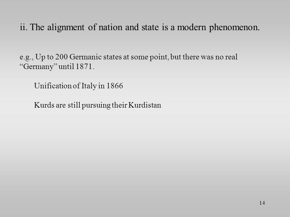 ii. The alignment of nation and state is a modern phenomenon.
