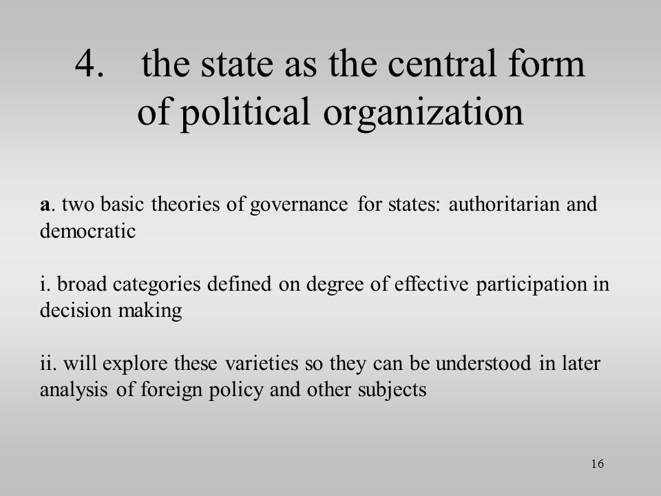 4. the state as the central form of political organization