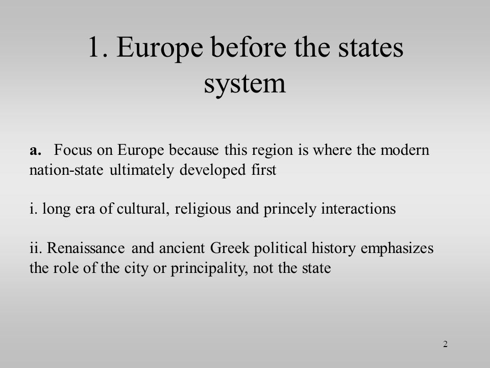 1. Europe before the states system
