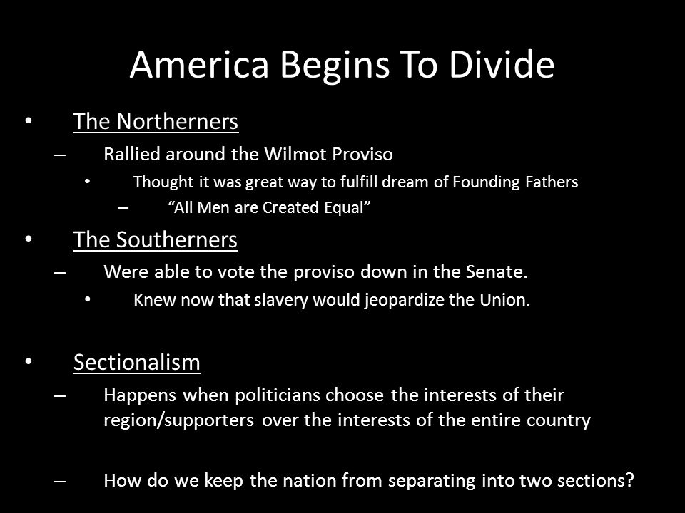 America Begins To Divide