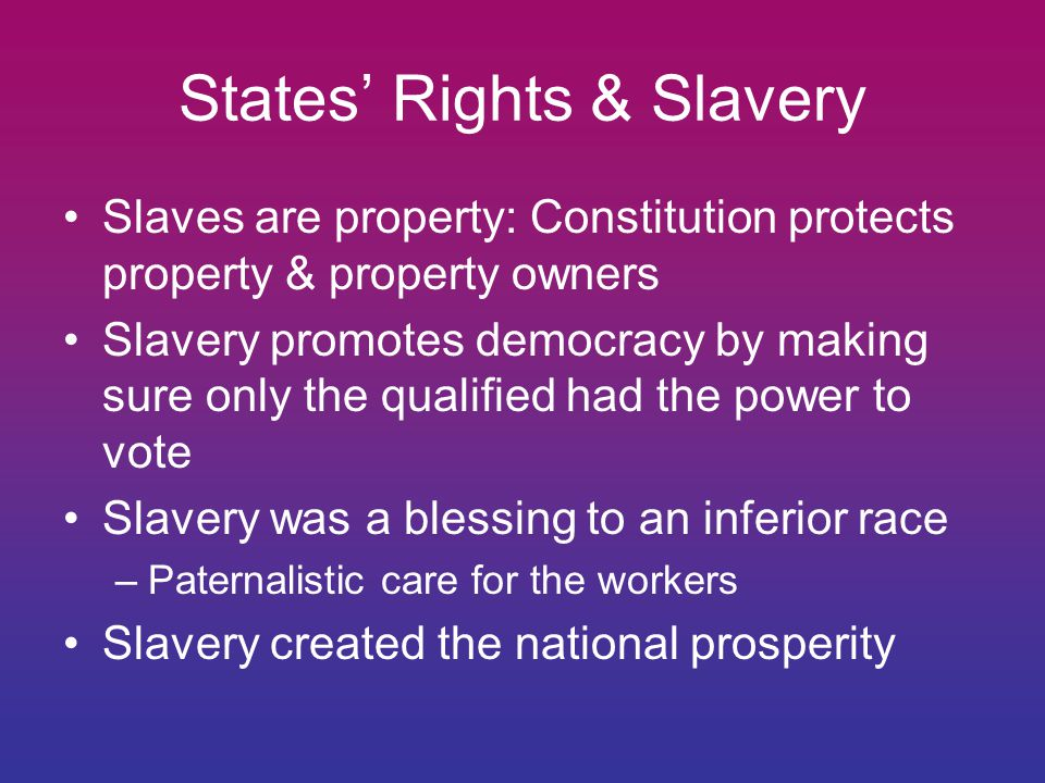 States' Rights & Slavery