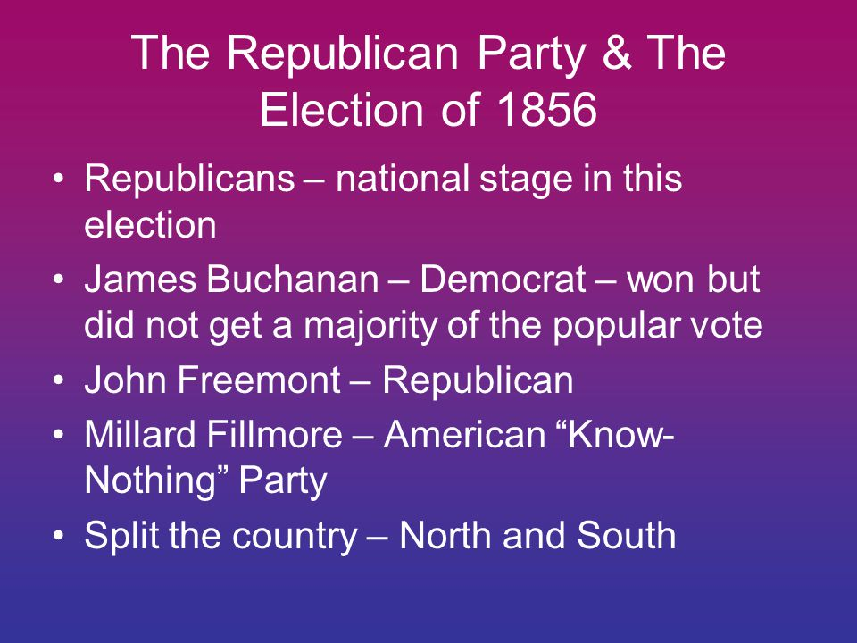 The Republican Party & The Election of 1856