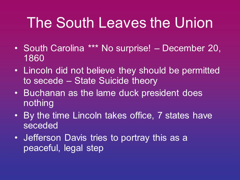 The South Leaves the Union