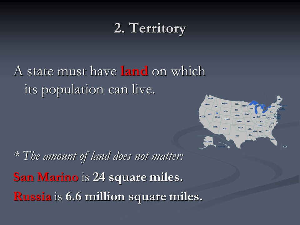 A state must have land on which its population can live.