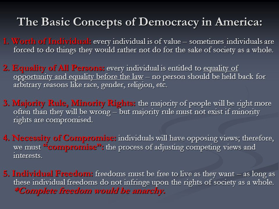 The Basic Concepts of Democracy in America: