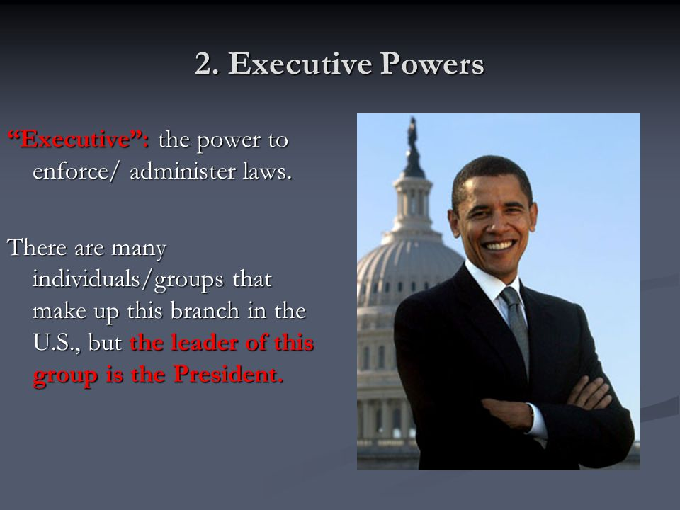 2. Executive Powers Executive : the power to enforce/ administer laws.