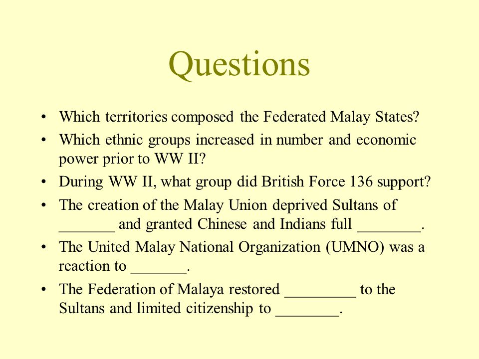 Questions Which territories composed the Federated Malay States