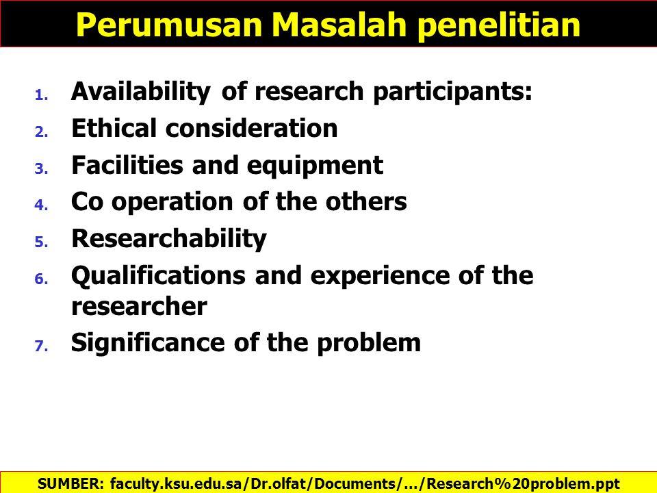 Perumusan Masalah penelitian