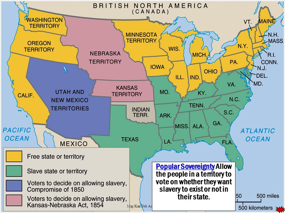 Map of the us 1857 slave states free states