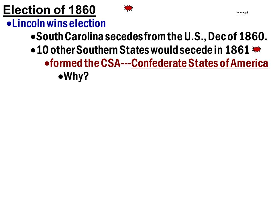 South Carolina secedes from the U.S., Dec of 1860.