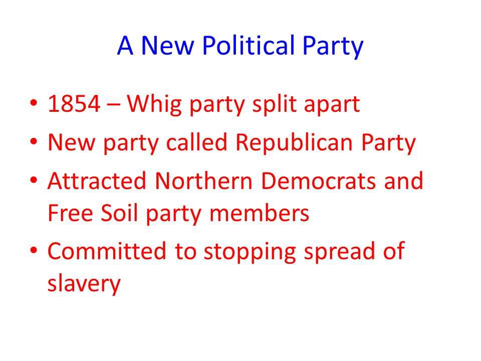 A New Political Party 1854 – Whig party split apart