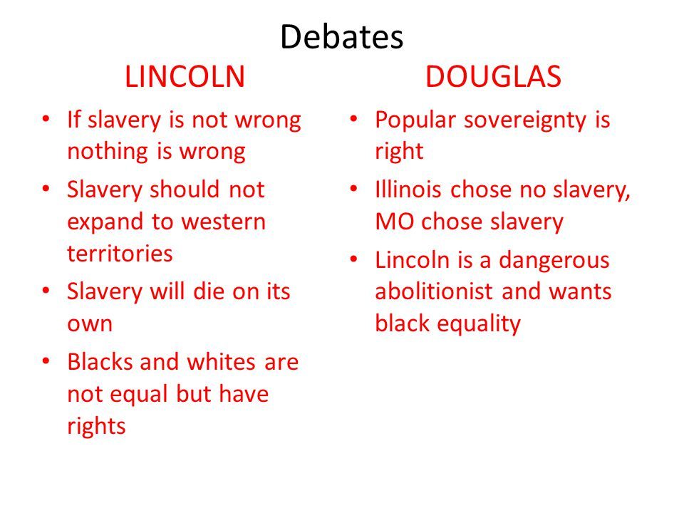 Debates LINCOLN DOUGLAS If slavery is not wrong nothing is wrong