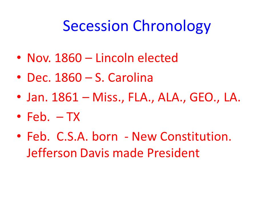 Secession Chronology Nov. 1860 – Lincoln elected