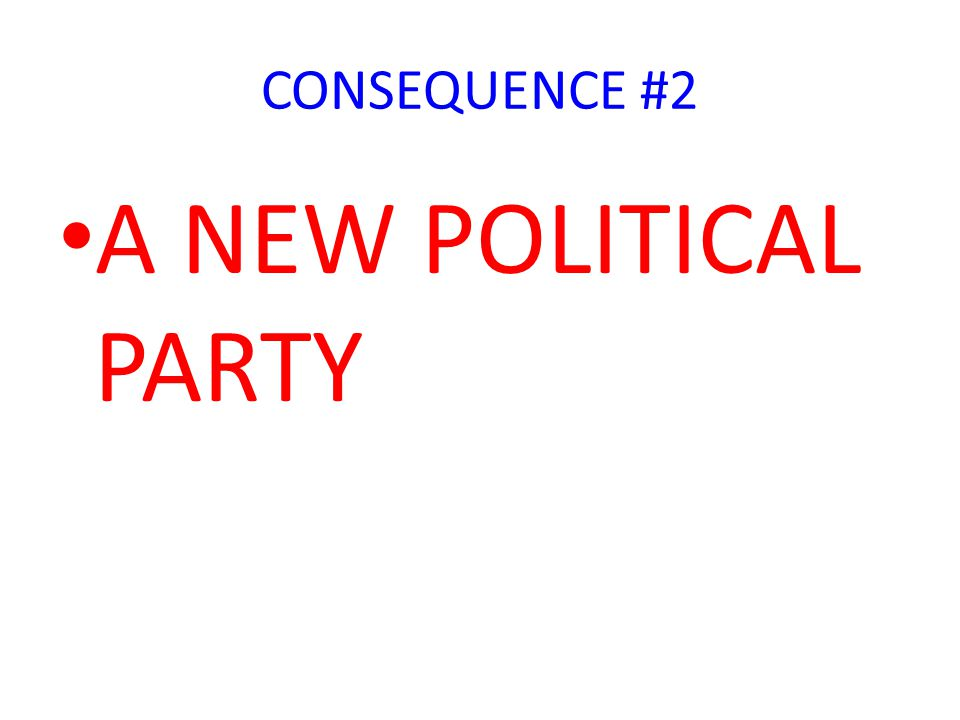 CONSEQUENCE #2 A NEW POLITICAL PARTY