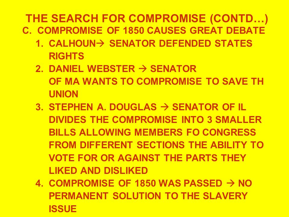 THE SEARCH FOR COMPROMISE (CONTD…)