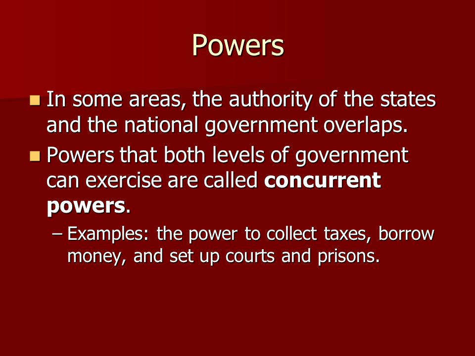 Powers In some areas, the authority of the states and the national government overlaps.