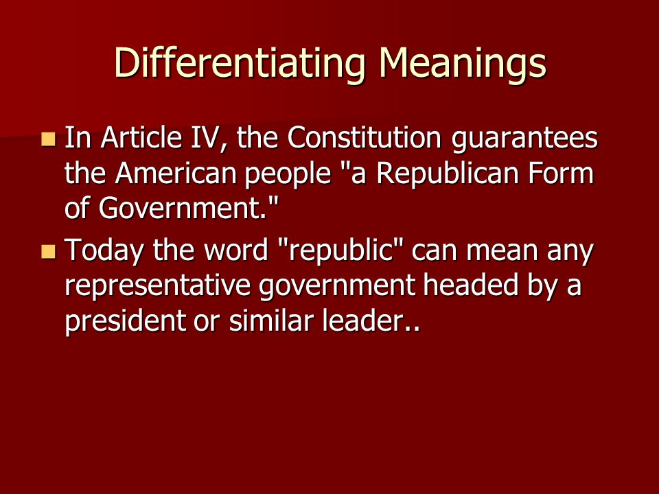 Differentiating Meanings